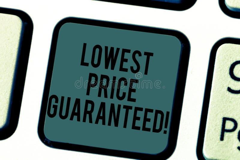 Der Handschriftstext, der niedrigsten Preis schreibt, garantierte Konzeptbedeutung Preisgebühren sind unter Konkurrenten das nied stockbild