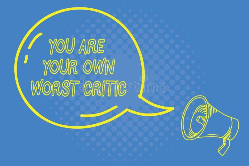 Der Handschriftstext, der Sie schreibt, sind Ihr eigener schlechtester Kritiker Konzept zu, das stark auf Selbst nein zum positiv lizenzfreie abbildung