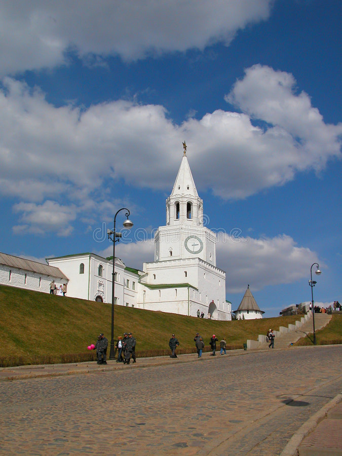 Der Hauptkontrollturm des Kazan Kremlin lizenzfreies stockfoto