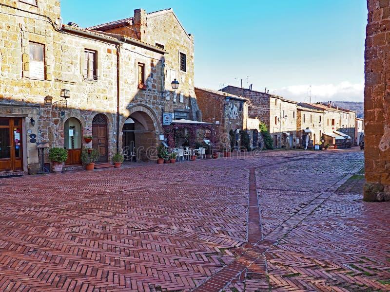 Der Hauptplatz von Sovana in Toskana, Italien stockfoto