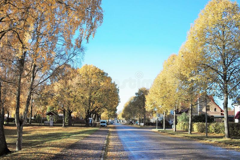 Der Herbst auf der Straße in Ljungby - Schweden lizenzfreies stockfoto