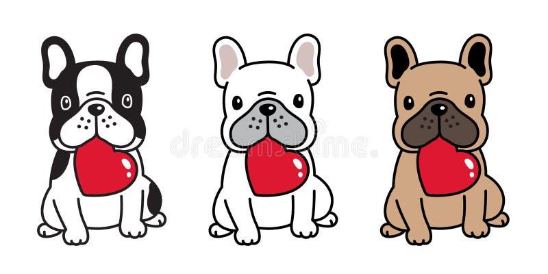Der Herzvalentinsgrußzeichentrickfilm-figur-Ikone der französischen Bulldogge des Hundevektors Lächelnlogo-Zuchtillustration sitz vektor abbildung