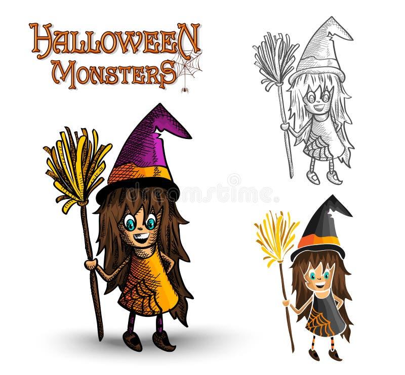 Der Hexen-Illustration EPS10 Halloween-Monster gespenstische Datei lizenzfreie abbildung