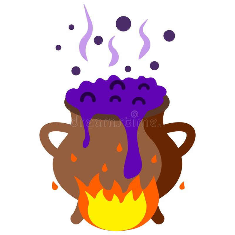 Der Hexentrank wird auf Feuer gekocht, kocht, kost lizenzfreie abbildung