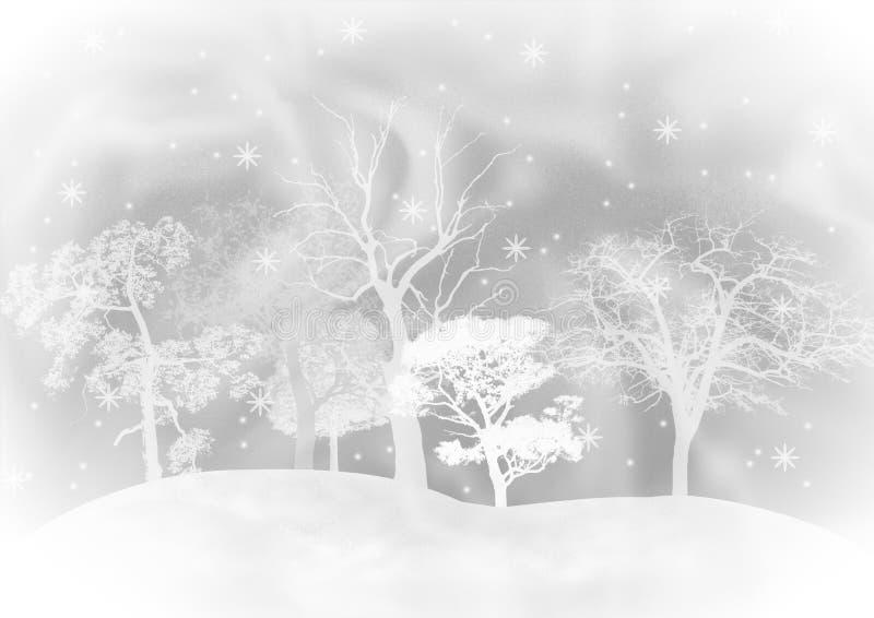 Der Hintergrund, der Pelzbäumen unter Schneefälle zeigt. lizenzfreie stockfotos