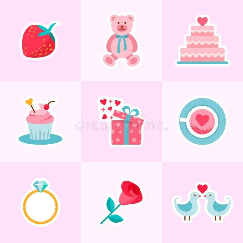 Der Hintergrund des Valentinsgrußes und Hochzeitsin der flachen Entwurfsart stock abbildung