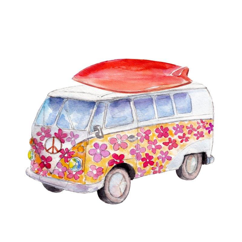 Der Hippiebus mit Surfbrett, Aquarellillustration lokalisiert auf Weiß lizenzfreie abbildung
