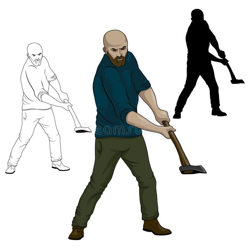 Der Holzfäller, der den Baum hackt Vektor-Illustration des Holzfällers stock abbildung