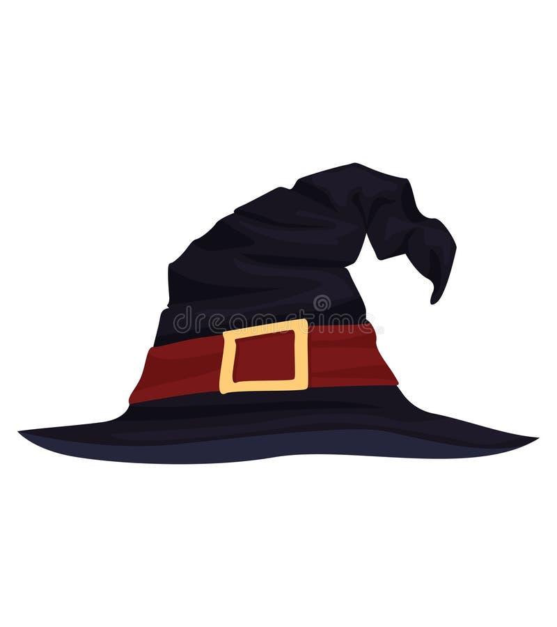 Der Hut der Vektor-Hexe für Halloween lizenzfreie stockbilder