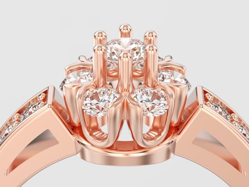 Download Der Illustration 3D Des Abschlusses Blumendiamant Rin Oben Dekorativer Rosafarbenes Gold Stock Abbildung - Illustration von edelstein, band: 106801775
