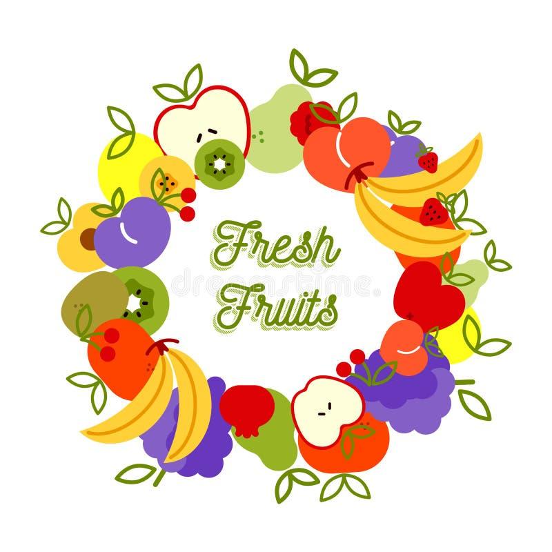 Der Illustrationsgesunden ernährung der frischen Frucht Hintergrund stock abbildung