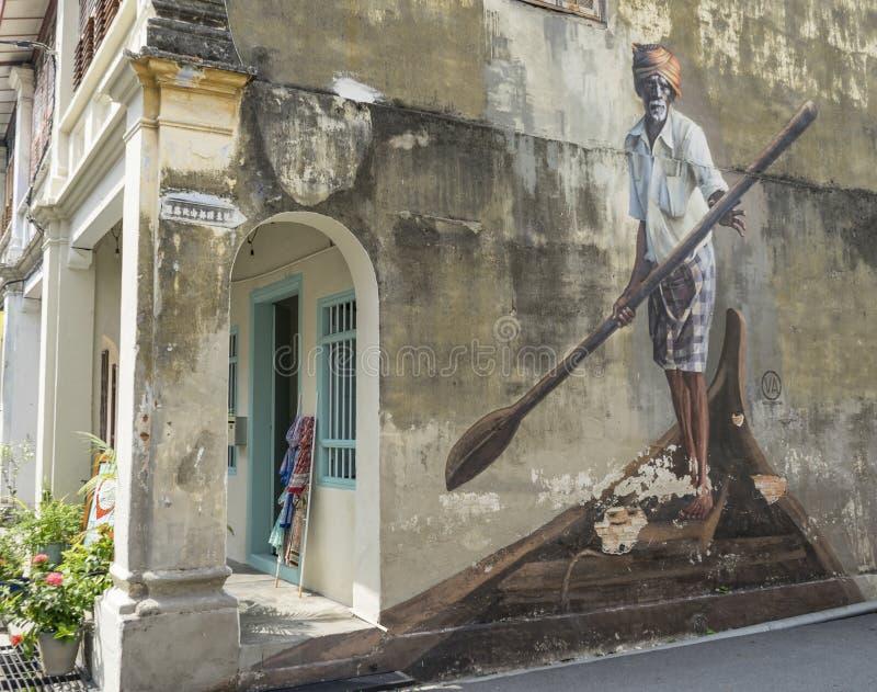 Der indische Bootsmann, eins der Rennen in multikulturellem Penang, die Malerei in Georgetown, Penang lizenzfreie stockbilder