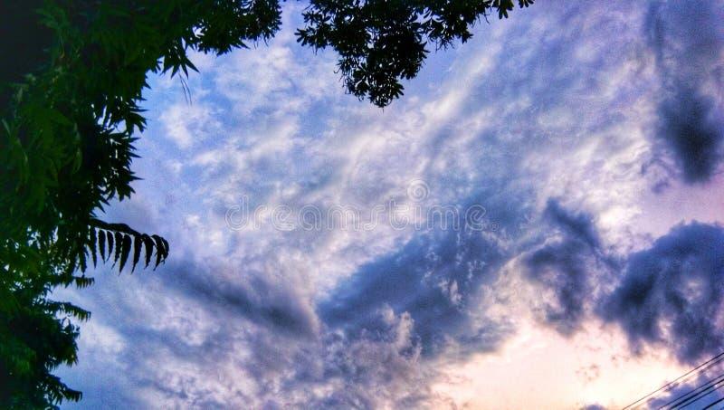 Der indische Sonnenunterganghimmel mit Wolken und Bäumen lizenzfreie stockbilder