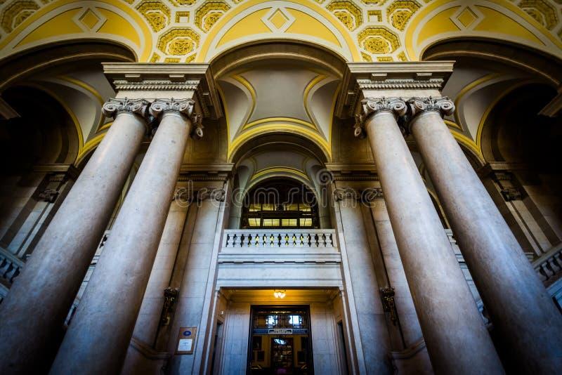 Der Innenraum der Staat Connecticut-Bibliothek, in Hartford, Anschl. stockfoto