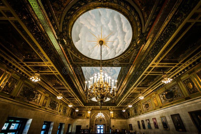 Der Innenraum der Staat Connecticut-Bibliothek, in Hartford, Anschl. lizenzfreies stockfoto