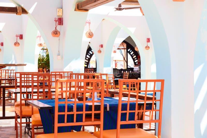 Der Innenraum des Cafés in Ägypten lizenzfreie stockbilder