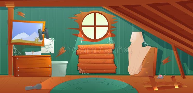 Der Innenraum des Dachbodens Ein alter vergessener Raum mit Kästen auf dem Dach Lampe und Bilder und Treppe zur Spitze stock abbildung