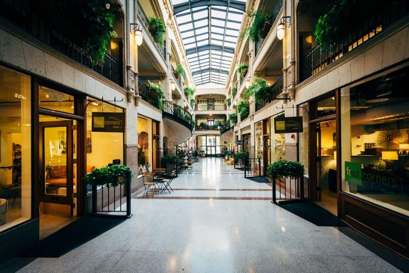 Der Innenraum des Grove-Säulengangs, in Asheville, North Carolina stockfotografie