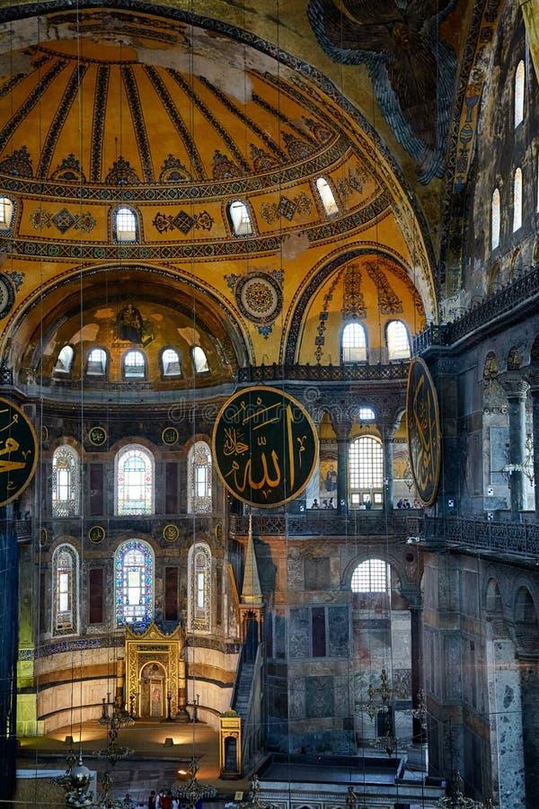 Der Innenraum des Hagia Sophia mit famouse islamischen Elementen, stockbilder