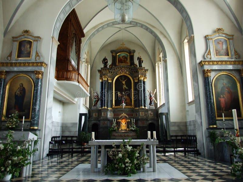 Der Innenraum der großen Kirche in der Stadt von Gossau lizenzfreie stockbilder