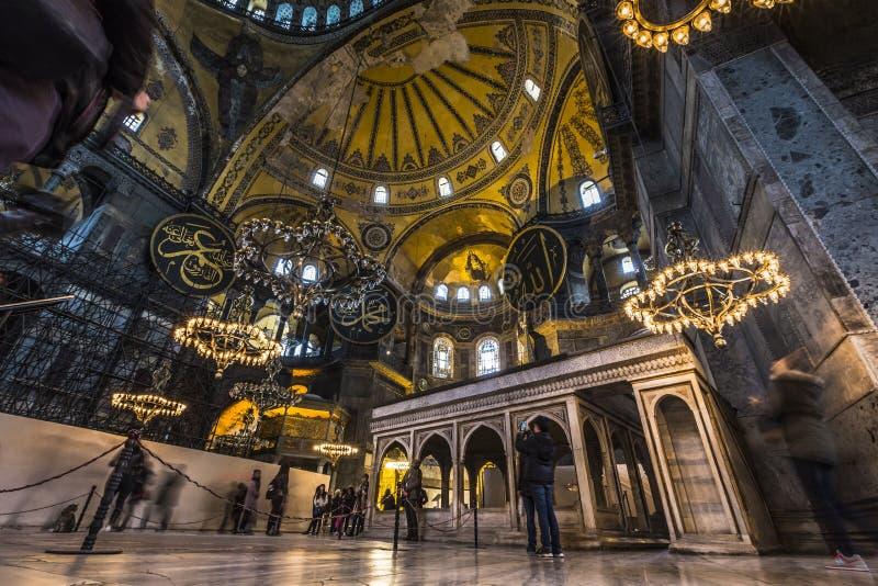 Der Innenraum Hagia Sophia (auch angerufen Hagia Sofia oder Ayasofya) lizenzfreie stockfotografie