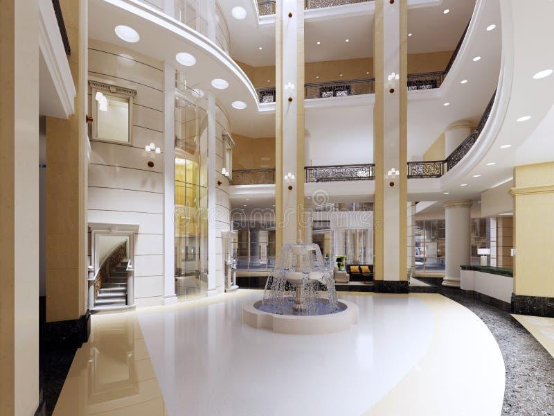 Der Innenraum der Lobby mit einem zweiten Licht Sternen eines in den modernen Hotels fünf lizenzfreie abbildung