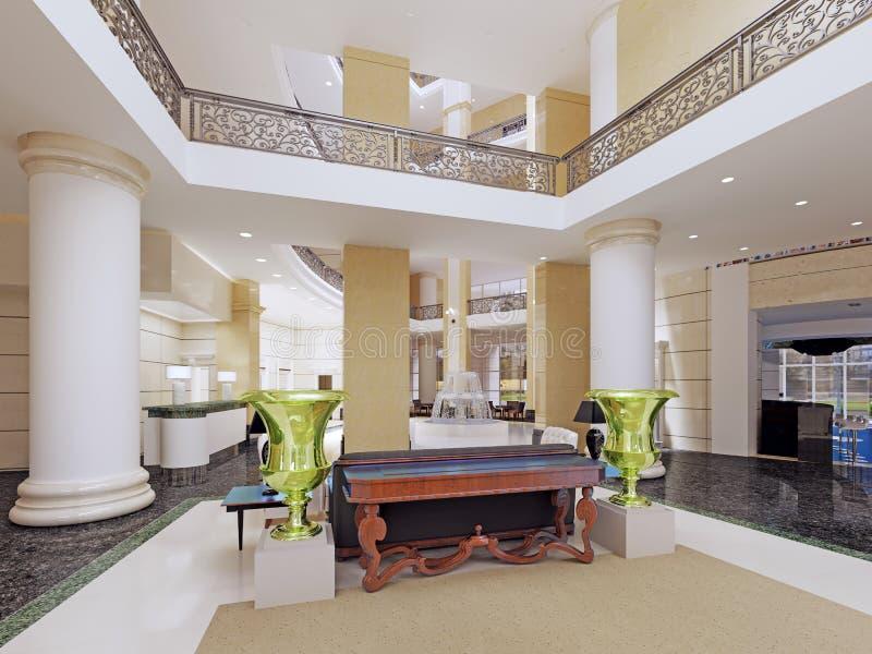 Der Innenraum der Lobby mit einem zweiten Licht Sternen eines in den modernen Hotels fünf stock abbildung