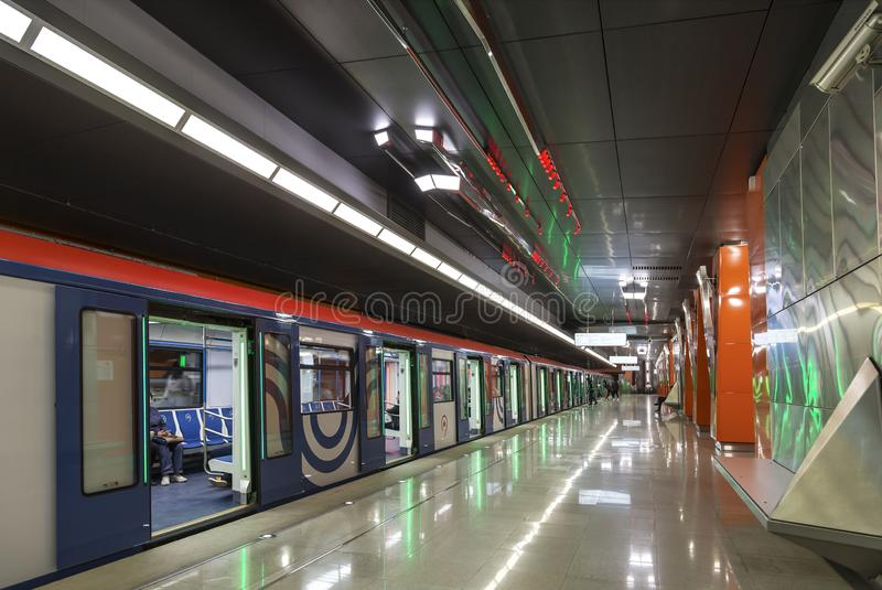 Der Innenraum der Station 'Borovskoe-Landstraße 'Moskau-Metros Moskau, lizenzfreie stockfotos
