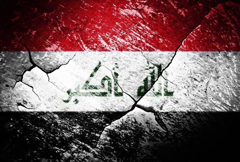 Der Irak-Flagge oder Krieg oder Konflikt oder getragen oder beunruhigt stock abbildung