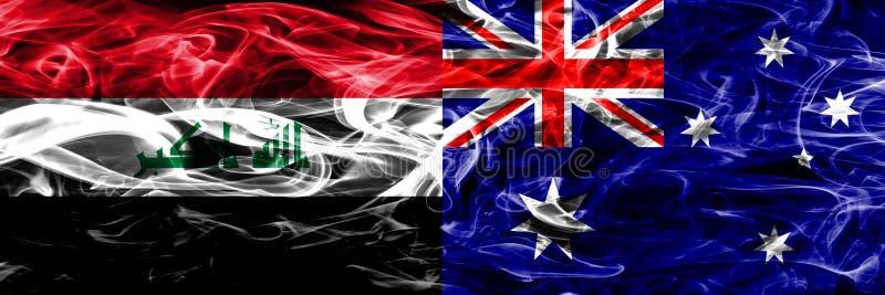 Der Irak gegen Konzept-Rauchflaggen Australiens die bunten nebeneinander gesetzt lizenzfreie abbildung