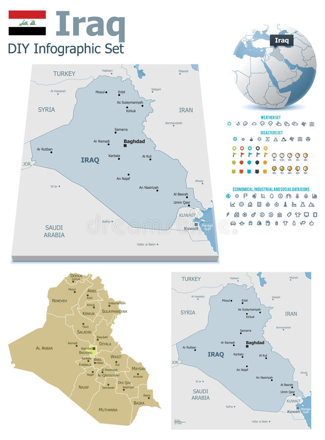 Der Irak-Karten mit Markierungen vektor abbildung