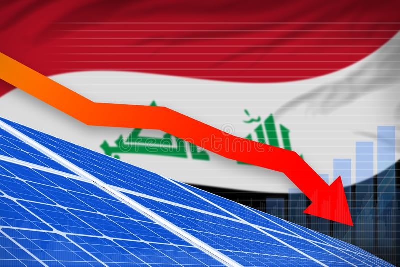 Der Irak-Solarenergieenergie, die Diagramm, Pfeil hinunter - alternative industrielle Illustration der natürlichen Energie senkt  stock abbildung
