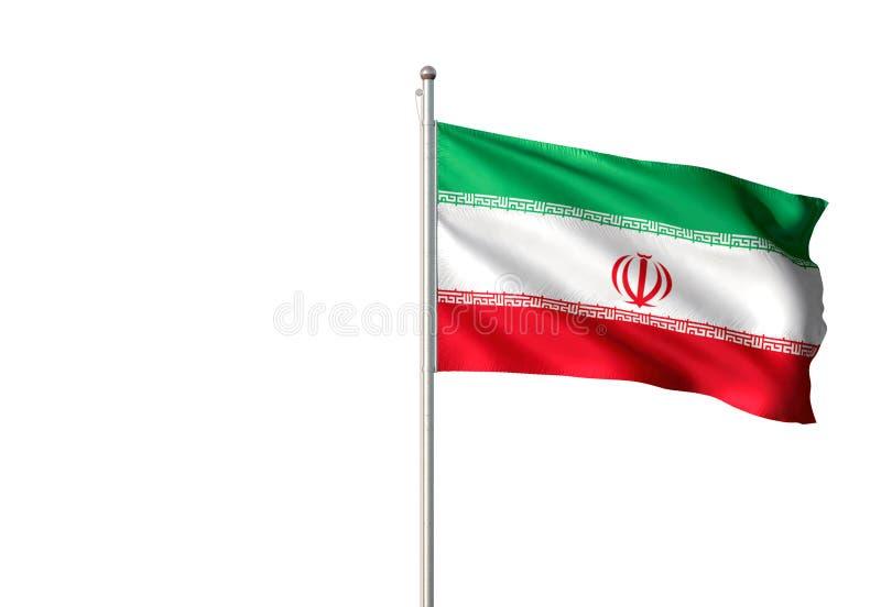 Der Iran-Staatsflagge, die lokalisierte realistische Illustration 3d des weißen Hintergrundes wellenartig bewegt vektor abbildung