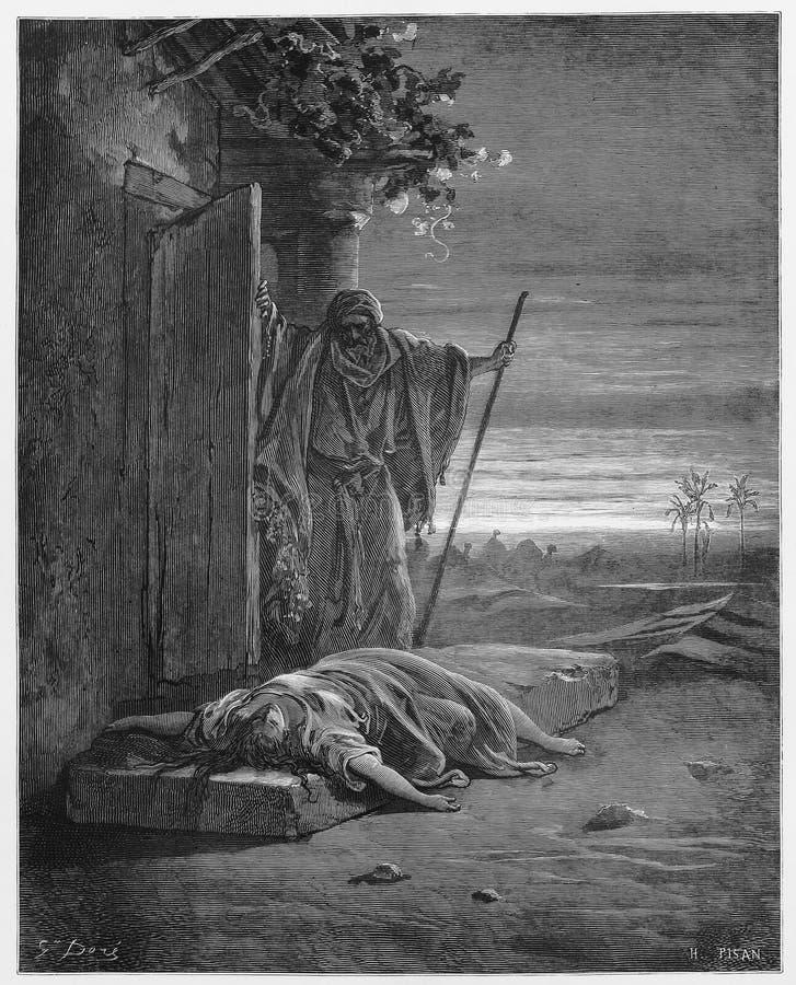 Der Israelit entdeckt seine Konkubinentoten stock abbildung