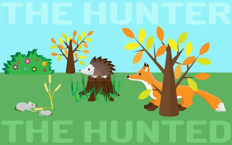 Der Jäger oder gejagt Maus, Igeles, Fuchs stock abbildung
