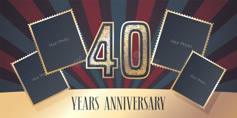 40 der Jahrestagsvektor-Jahre Ikone, Logo stock abbildung