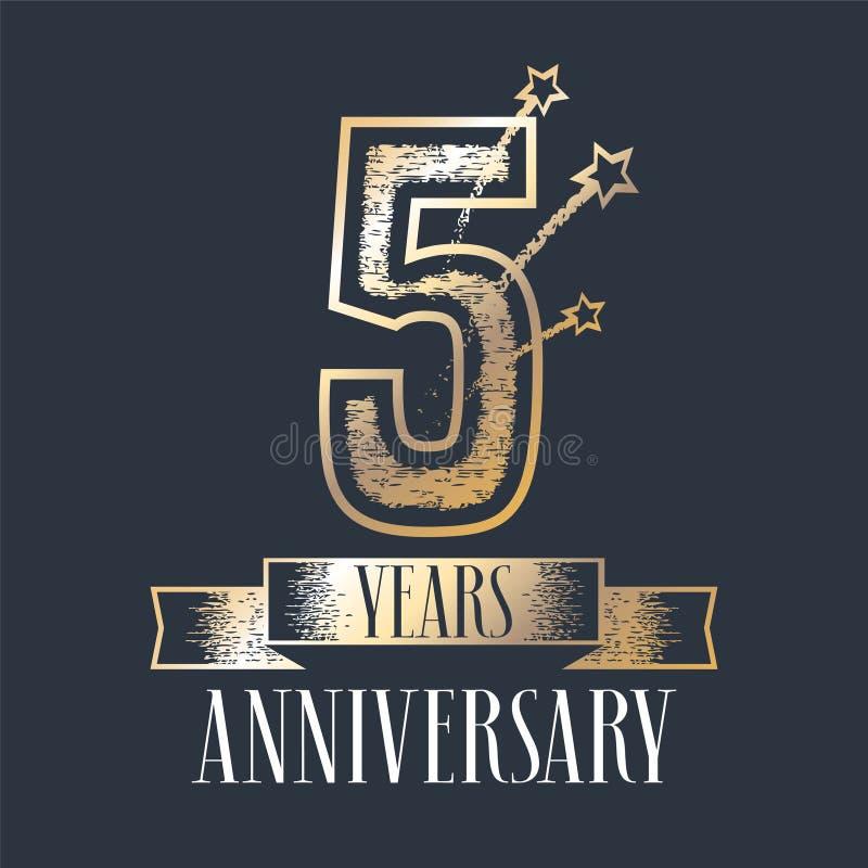 5 der Jahrestagsvektor-Jahre Ikone, Logo vektor abbildung
