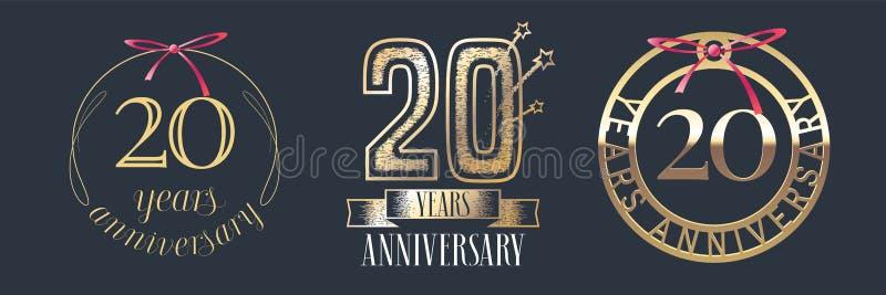 20 der Jahrestagsvektor-Jahre Ikone, Logosatz stock abbildung