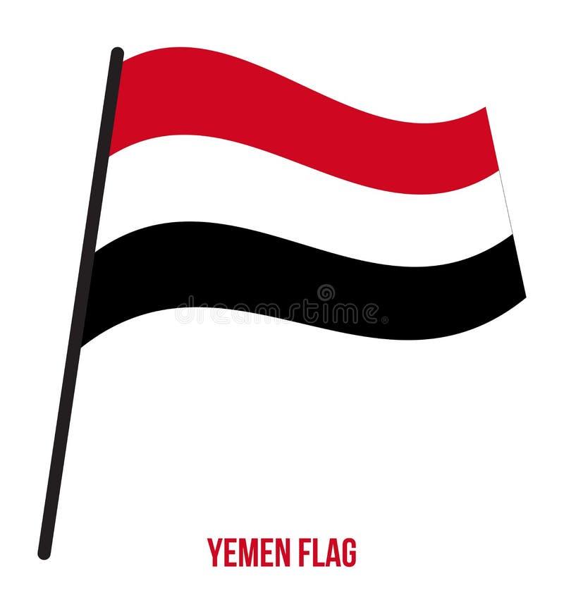 Der Jemen-fahnenschwenkende Vektor-Illustration auf weißem Hintergrund Der Jemen-Staatsflagge lizenzfreie abbildung