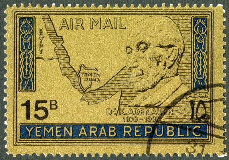 Der JEMEN - 1968: zeigt Konrad Adenauer 1876-1967 lizenzfreies stockbild