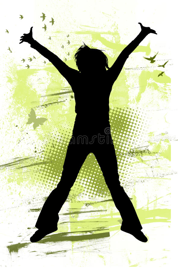 Der Jugendliche springend mit Freude vektor abbildung