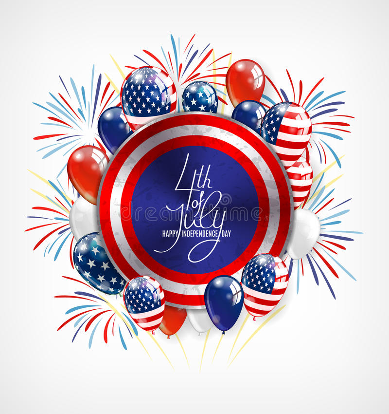 4. der Juli-Unabhängigkeitstaggrußkarte, Fahnen- oder Einladungsschablone Runder Knopf mit patriotischen Ballonen und lizenzfreie abbildung