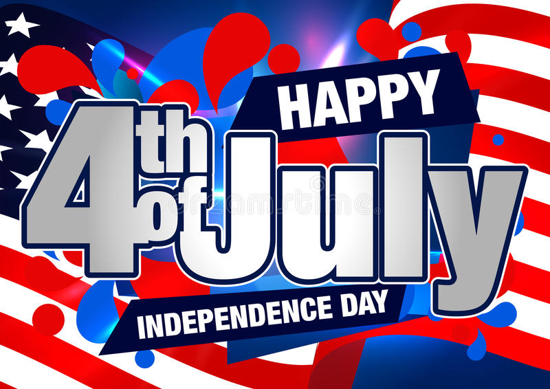 4. der Juli-Vektor-Karte oder der Fahne mit USA-Flagge stock abbildung