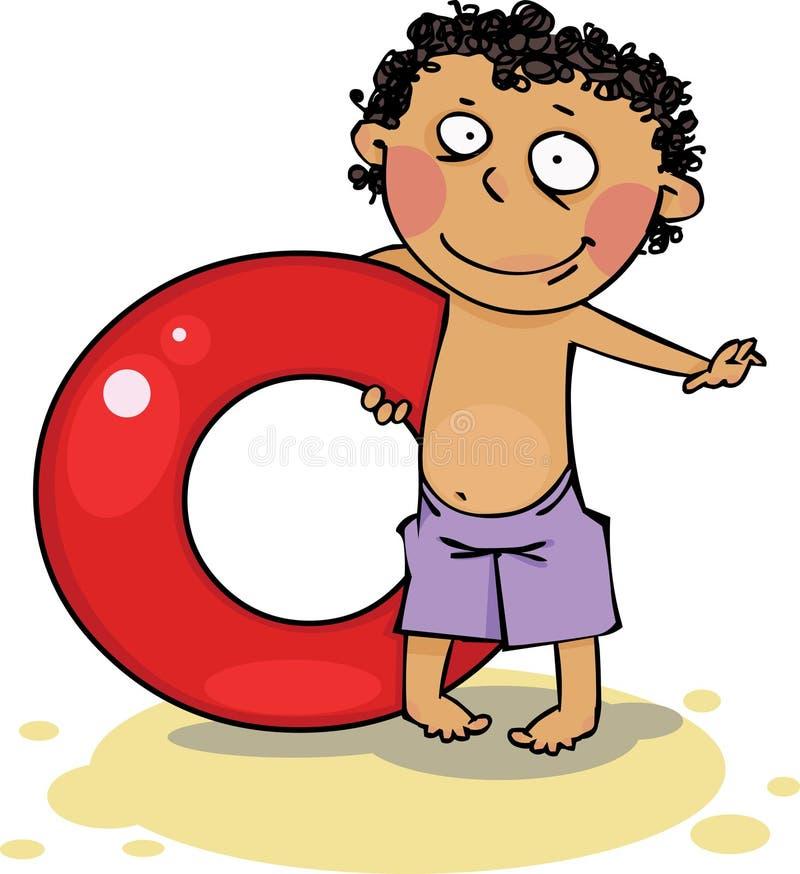 Der Junge auf dem Strand lizenzfreie abbildung