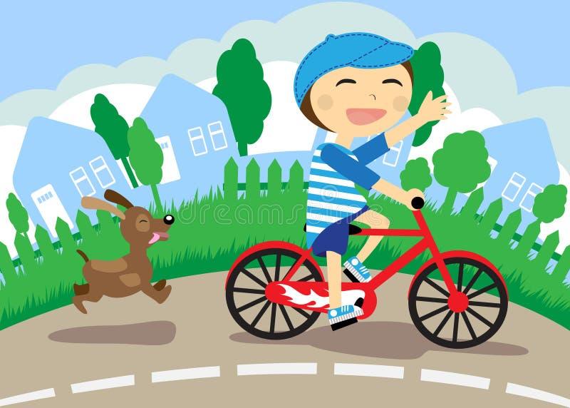 Der Junge auf Fahrrad vektor abbildung