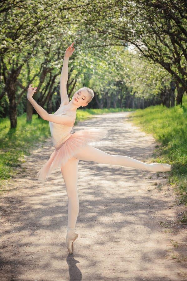 Der junge Balletttänzer, der klassisches Ballett zeigt, wirft draußen an der Sonne auf lizenzfreie stockbilder