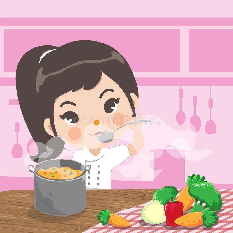 Der junge Chef geschmackvoll in der Küche lizenzfreie abbildung