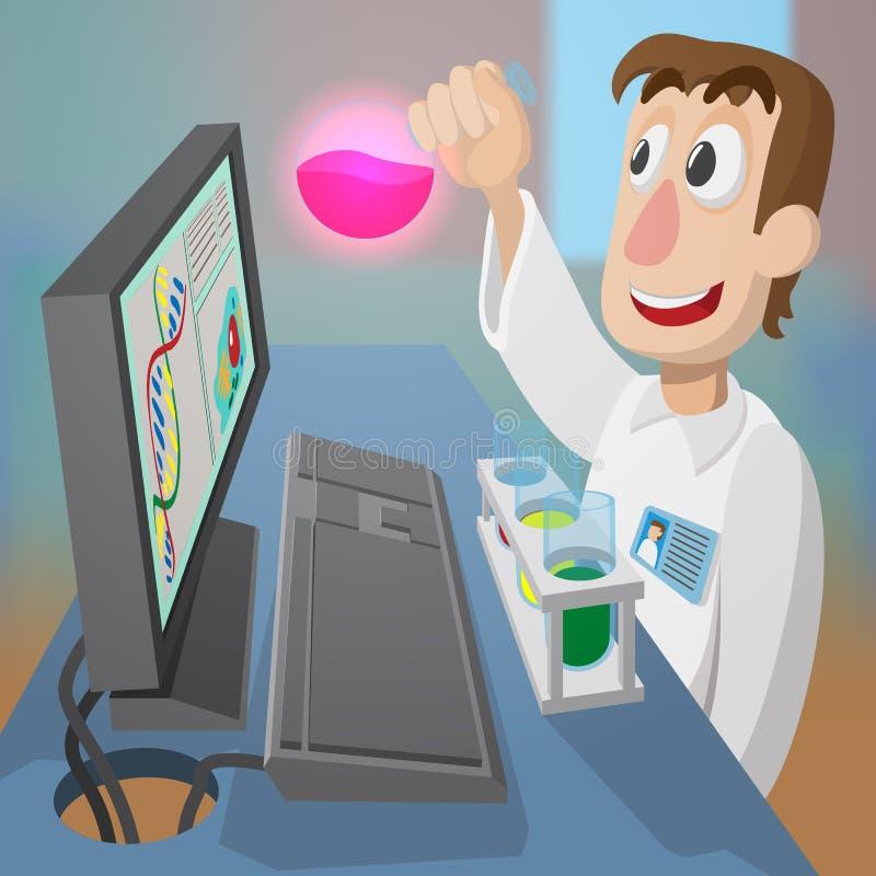 Der junge Chemiker entdeckte eine neue Substanz stockfotografie