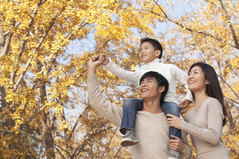 Der Junge, der auf seinen Vätern sitzt, schultert in einen Park mit Familie im Herbst lizenzfreie stockbilder