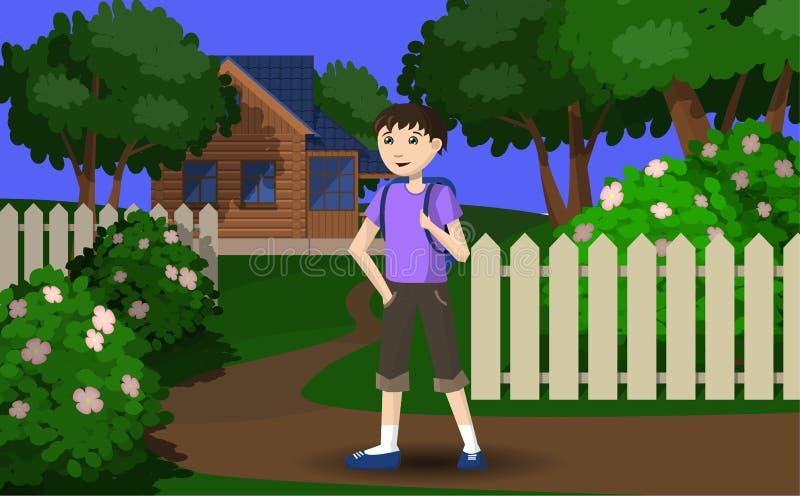 Der Junge geht im Urlaub zum Dorf lizenzfreie stockfotos